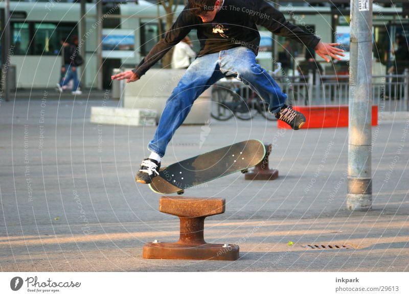 Man Sports Jump Skateboarding Station Coil Bollard