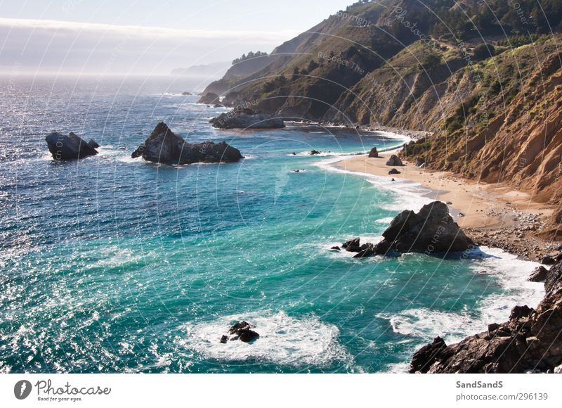 Along the Pacific Coast Highway Beautiful Vacation & Travel Tourism Beach Ocean Nature Landscape Sand Park Rock Waterfall Blue California USA america bay big