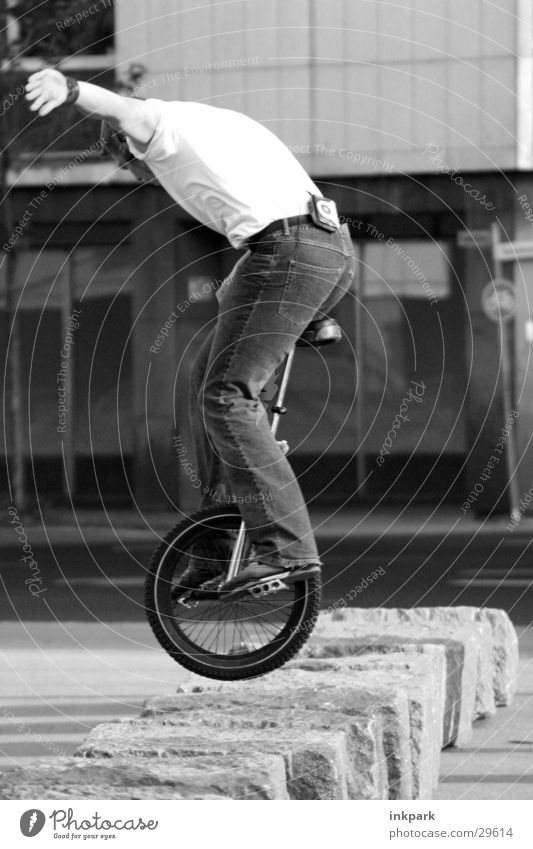 Man Jump Stone Contentment Bicycle Jeans Hop Cycling Ride a unicycle