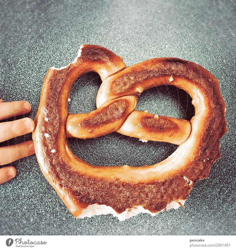 Food Face Eating Funny Laughter Nutrition Fingers Touch Baked goods Select Toddler Dough Lure Intuition Pretzel 1 - 3 years