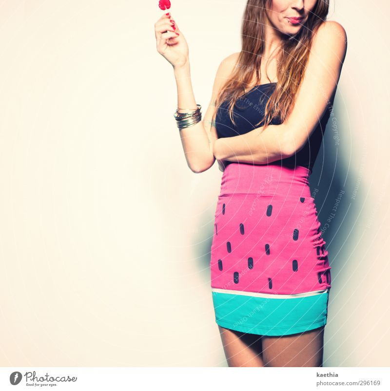 fruity time Candy Lollipop Lick Nutrition Eating Lifestyle Beautiful Feminine Woman Adults Stomach 1 Human being Fashion Skirt Accessory Jewellery Piercing