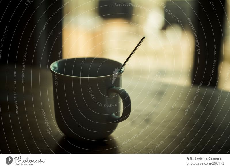 Moin Moin Beverage Hot drink Coffee Cup Spoon Contentment Living or residing Subdued colour Interior shot Deserted Copy Space right Light Shadow Contrast