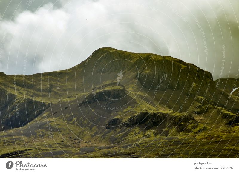 Iceland Environment Nature Landscape Elements Sky Clouds Climate Hill Rock Mountain Natural Wild Green Moody Colour photo Subdued colour Exterior shot Deserted