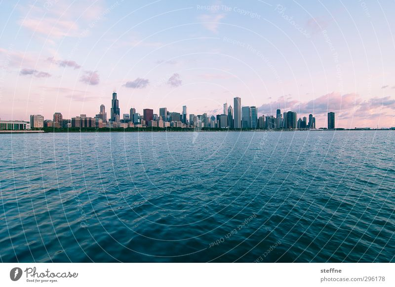 Inhale the morning Water Sky Sunrise Sunset Summer Beautiful weather Waves Coast Lakeside Michigan Lake Chicago USA Town Skyline High-rise Peace Calm Style