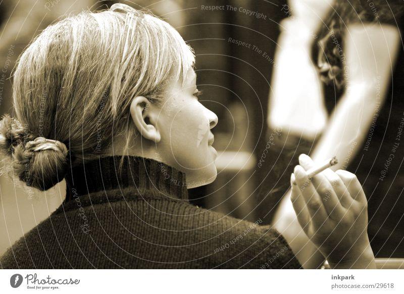 Entertaining Café Cigarette Blonde Woman Smoking Contentment To talk