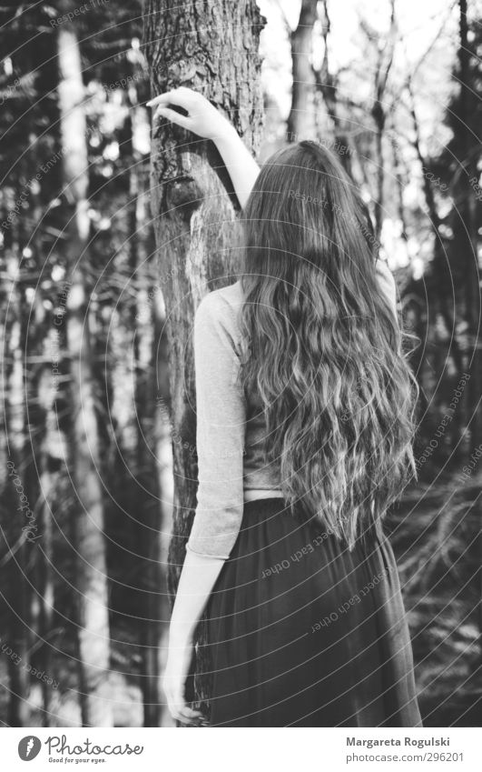 hair Feminine 1 Human being Environment Nature Bushes Forest Skirt Dress Sweater Hair and hairstyles Stand Black & white photo Day