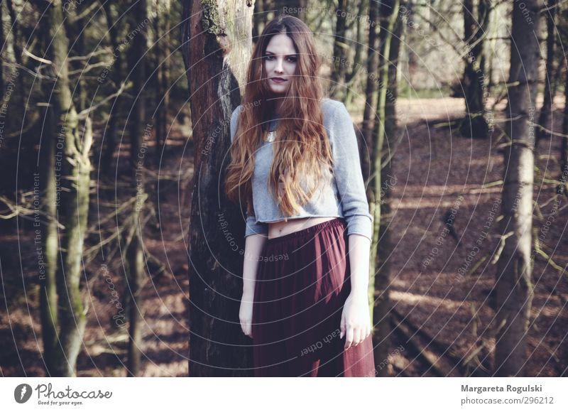 middle of the forest Feminine Young woman Youth (Young adults) 1 Human being 18 - 30 years Adults Environment Nature Landscape Tree Bushes Moss Forest Gloomy