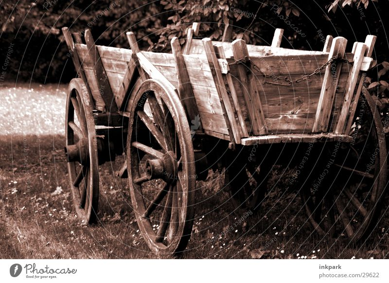 From ancient times Wood Carriage Cart Meadow Spokes Old Trolley