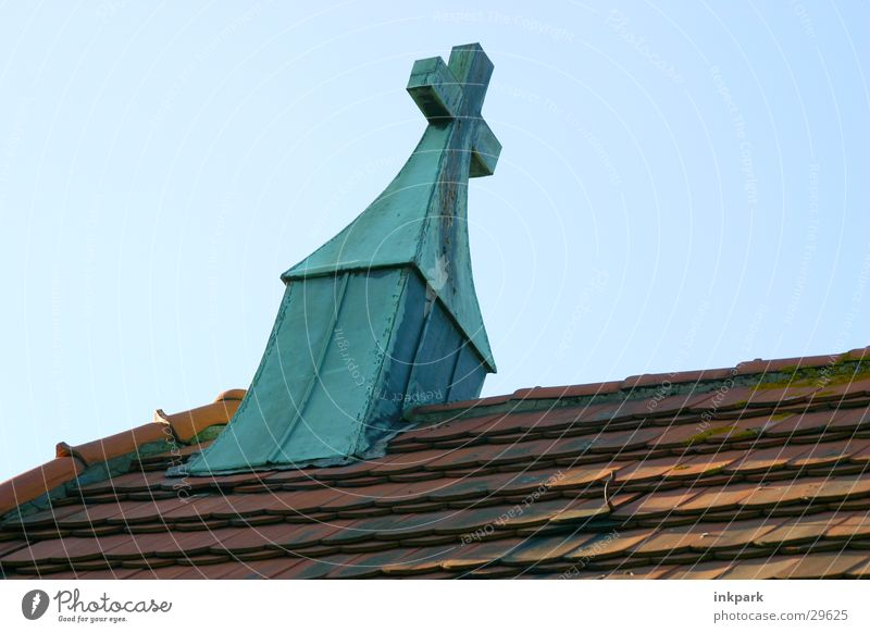 Religion and faith Back Roof Beautiful weather Cemetery Roofing tile House of worship