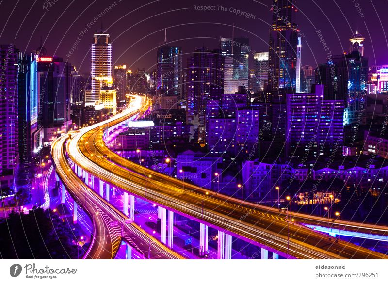 Shanghai at night China Asia Town Port City Downtown Overpopulated House (Residential Structure) High-rise Bank building Bridge Architecture Motoring Street