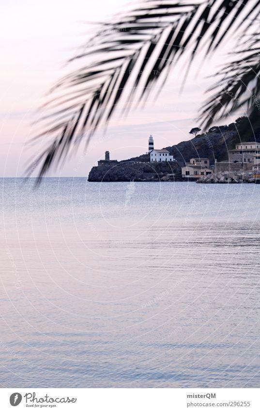 Vacation & Travel Ocean Calm Coast Art Pink Idyll Esthetic Romance Palm tree Lighthouse Dreamily Remote Majorca Peaceful Sea water