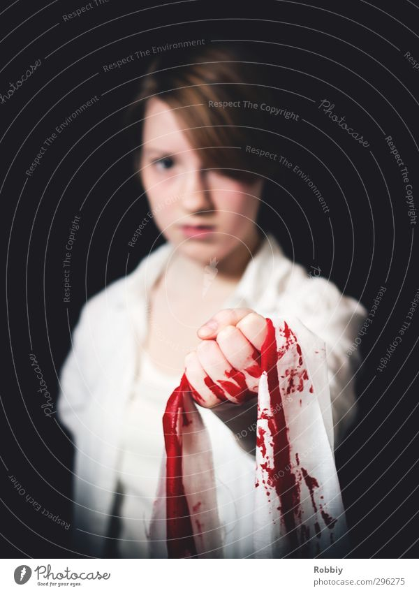 The innocence of their blood Feminine Young woman Youth (Young adults) 1 Human being 13 - 18 years Child To hold on Stand Threat Red Black White Pain Guilty