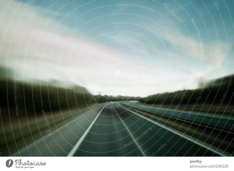 Fast Lane Environment Sky Clouds Tree Transport Traffic infrastructure Road traffic Motoring Bus travel Street Highway Driving Vacation & Travel Speed Blue