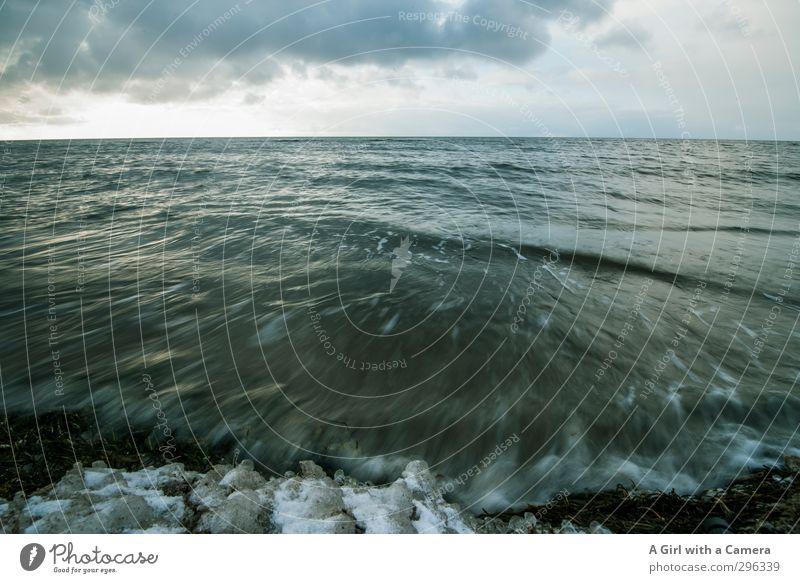 Sky Nature Ocean Landscape Clouds Environment Dark Coast Waves Wild Deep Baltic Sea Storm clouds Darss Swell Wave break