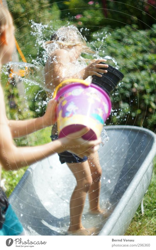 Human being Child Water Summer Girl Joy Feminine Playing Boy (child) Funny Happy Garden Healthy Together Infancy Masculine