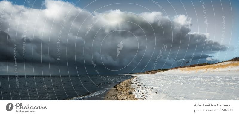 Now it's getting serious Environment Nature Landscape Elements Sky Clouds Storm clouds Winter Bad weather Beach Baltic Sea Ocean Threat Dark Subdued colour