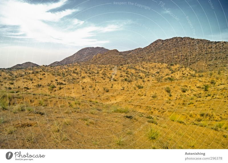 bare landscape in India Environment Nature Landscape Plant Earth Sand Sky Clouds Horizon Spring Weather Beautiful weather Grass Bushes Hill Peak Desert Blue