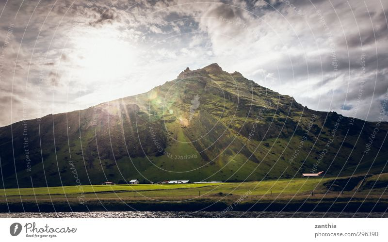 sunray Landscape Clouds Sun Sunlight Summer Beautiful weather Mountain Peak Moody Spring fever Beginning Energy Relaxation Peace Hope Horizon Idyll Climate