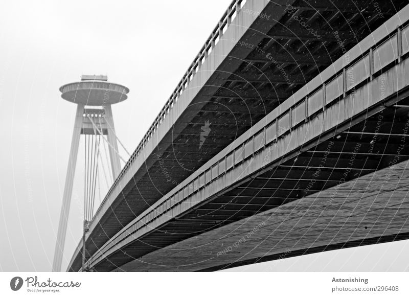 UFO Clouds Weather Bad weather Wind Fog Rain Snow Snowfall Bratislava Slovakia Town Transport Traffic infrastructure Street Bridge Tall Gray Black White Tower