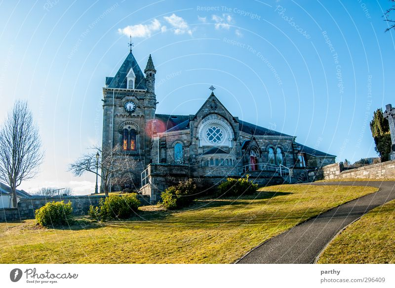 Church Hill Nature Sky Clouds Sun Spring Garden Meadow Mountain Village Belief Religion and faith Colour photo Multicoloured Exterior shot Deserted Day Light