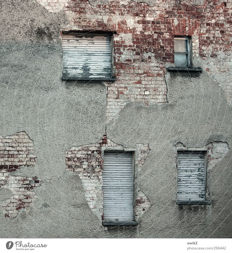 Three more asleep Living or residing House (Residential Structure) Wall (barrier) Wall (building) Facade Window Venetian blinds Old Dirty Historic Broken Trashy