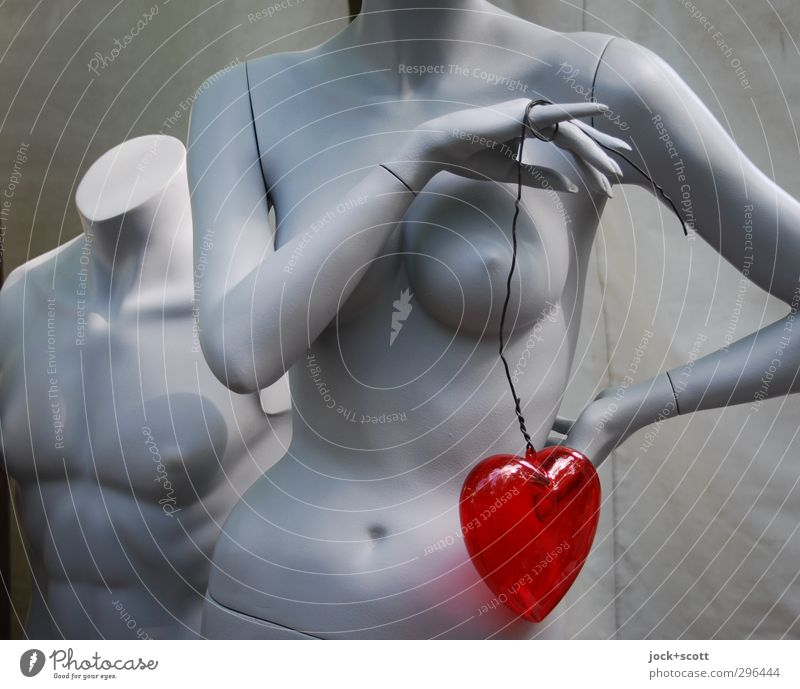 Two Hearts Naked Beautiful Red Eroticism Love Feminine Gray Happy Together Masculine Stand Sign Kitsch Plastic Thin