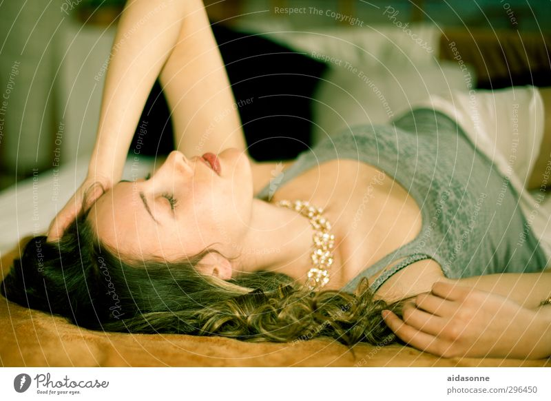 lying woman Flat (apartment) Bed Feminine Young woman Youth (Young adults) Woman Adults Body 1 Human being 18 - 30 years Sleep Exhaustion Colour photo