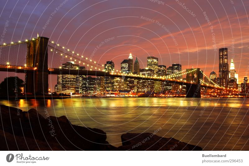 New York Brooklyn Bridge in the evening Town Downtown Skyline House (Residential Structure) High-rise Manmade structures Building Architecture