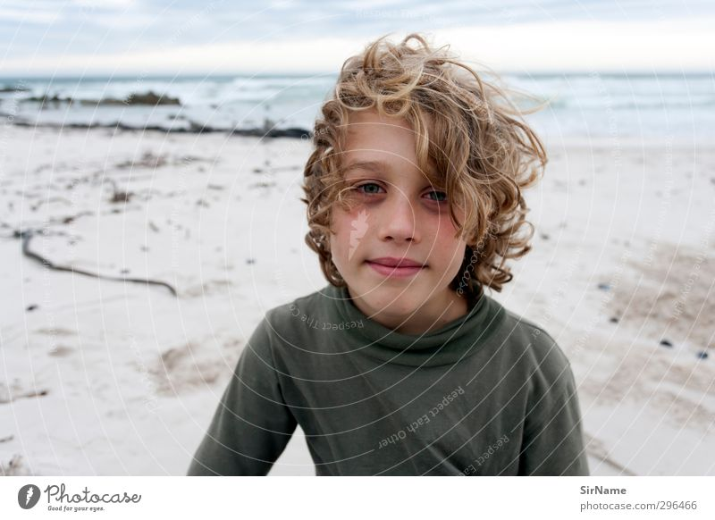 Human being Child Nature Vacation & Travel Beautiful Water Ocean Beach Warmth Life Boy (child) Swimming & Bathing Sand Natural Infancy Wind