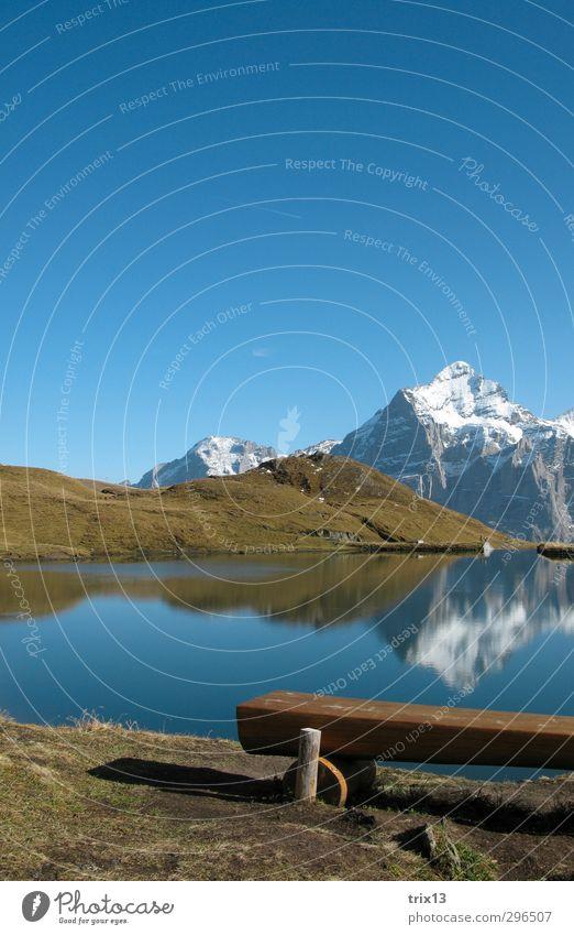 Idyllic Trip Mountain Nature Landscape Water Sky Cloudless sky Autumn Beautiful weather Grass Hill Alps Peak Lakeside Bach alps lake Blue Green White