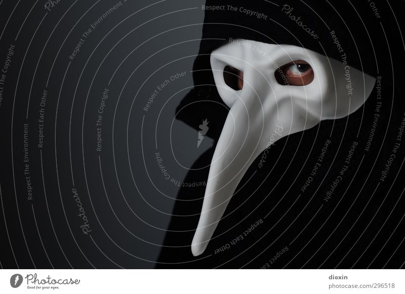 Human being Man Adults Dark Eyes Fear Masculine 45 - 60 years Threat Observe Mask Creepy Carnival Stage play Bizarre Hooded (clothing)