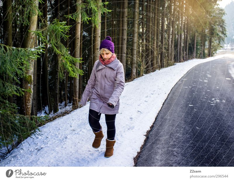 Youth (Young adults) Vacation & Travel Loneliness Landscape Winter Relaxation Young woman Adults Cold Snow Street Feminine Movement Lanes & trails 18 - 30 years