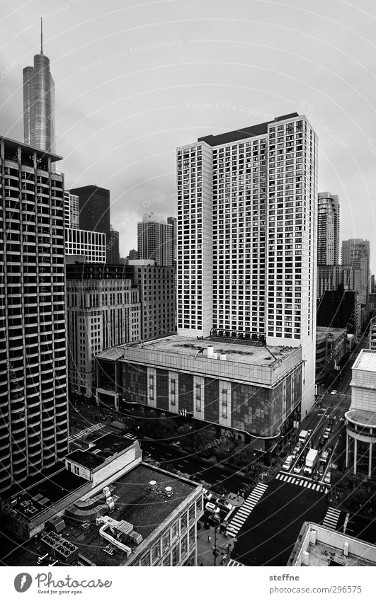 matter of opinion Chicago USA Town Downtown Skyline House (Residential Structure) High-rise Transport Motoring Crossroads gorge of houses Black & white photo