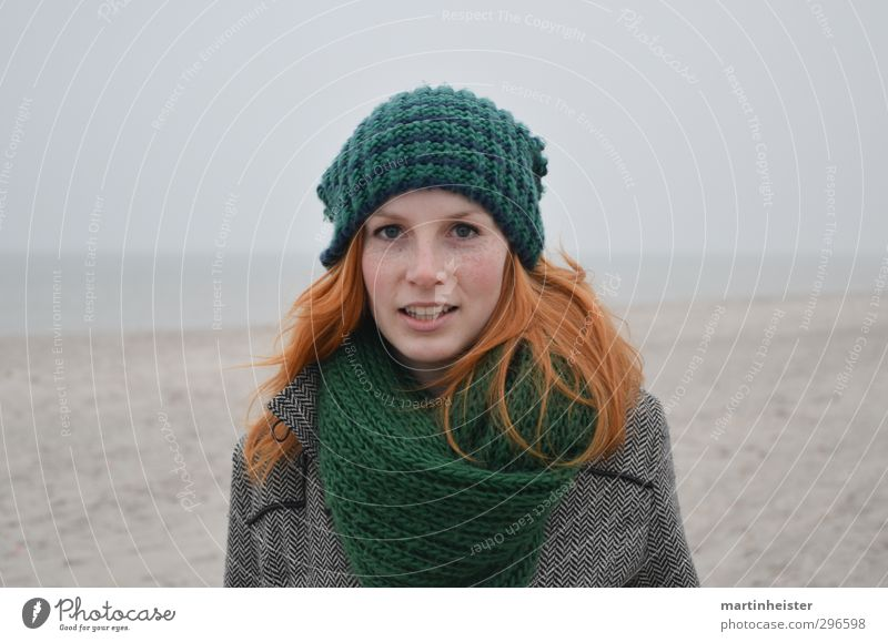 RedSun Feminine Young woman Youth (Young adults) Woman Adults 1 Human being 18 - 30 years Beach Baltic Sea Ocean Smiling Natural Gray Green Orange Happy Trust