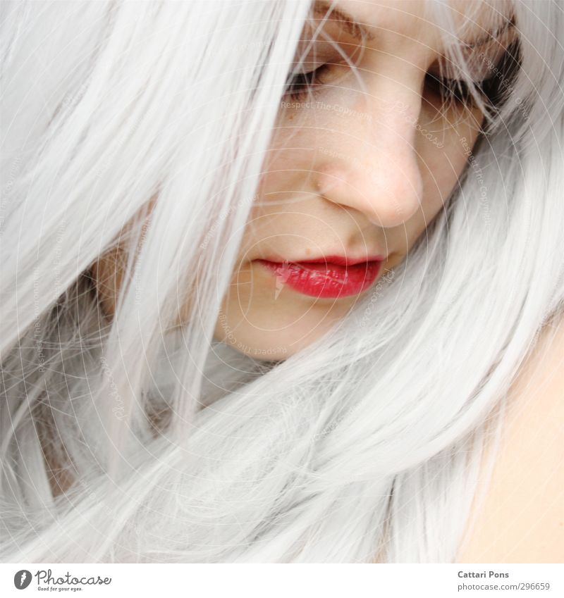 don't remember me Hair and hairstyles Face Make-up Lipstick Mascara Feminine Young woman Youth (Young adults) Woman Adults White-haired Long-haired Dream