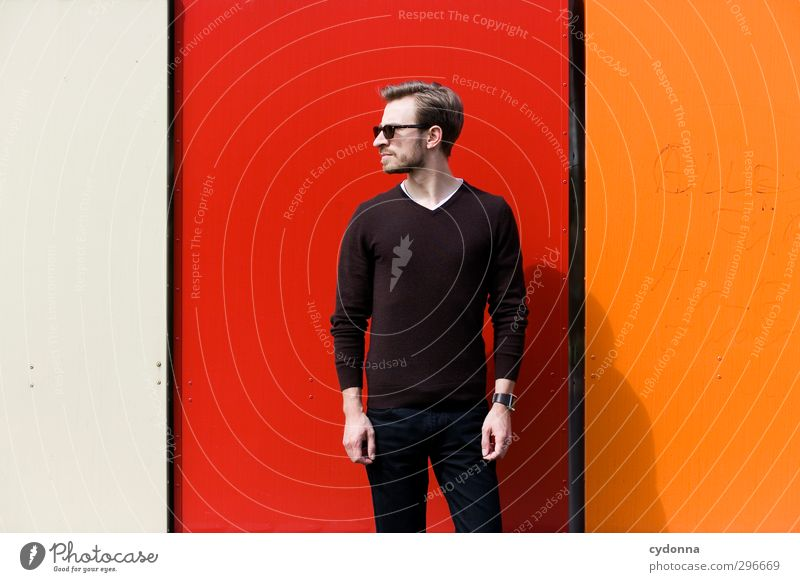 Human being Youth (Young adults) Beautiful Colour Red Adults Young man Wall (building) Life 18 - 30 years Wall (barrier) Style Orange Elegant Stand Lifestyle