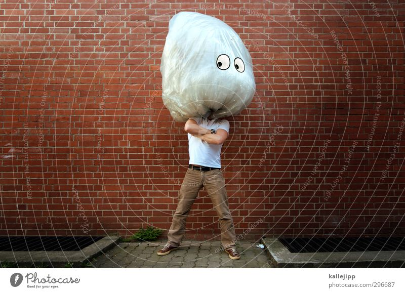 the brain Wall (barrier) Wall (building) Think Brain and nervous system Head Comic Stand Large Comic strip character Funny Eyes Looking Trash Garbage bag