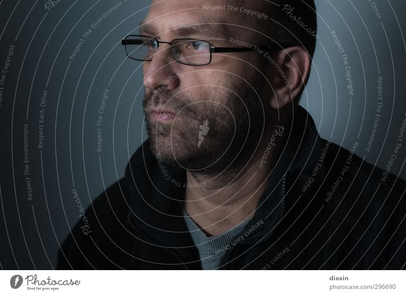 unmasked Human being Masculine Man Adults Head Facial hair 1 45 - 60 years Eyeglasses Looking Dark Colour photo Interior shot Studio shot Copy Space left