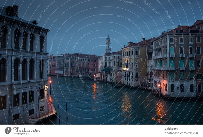 at night all gondolas are grey Venice Port City Old town House (Residential Structure) Tower Channel Canal Grande Tourist Attraction Dark Historic Multicoloured