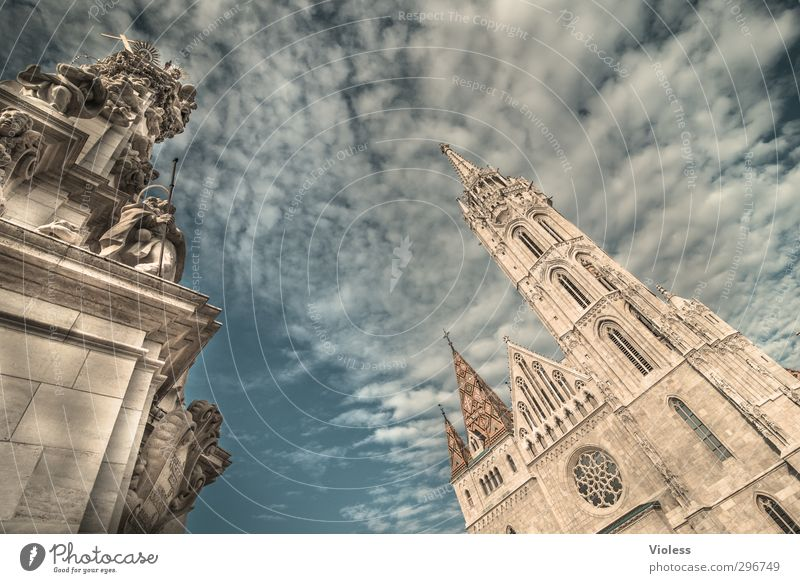 believe Capital city Old town Church Tourist Attraction Landmark Monument Esthetic Integrity Belief Matthias Church Budapest Hungary Clouds Basilica