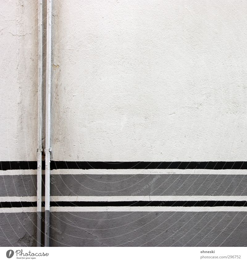 tubes Wall (barrier) Wall (building) Facade Pipe Heating Concrete Line Gray Colour photo Subdued colour Abstract Pattern Copy Space right Copy Space top