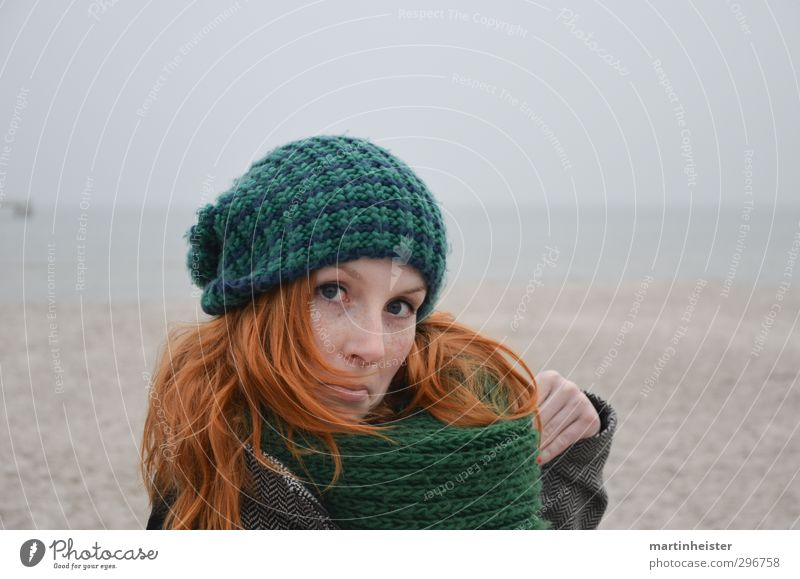 Woman Nature Youth (Young adults) Ocean Joy Beach Young woman Adults Feminine Funny Dance Crazy Cap Baltic Sea Brash Red-haired