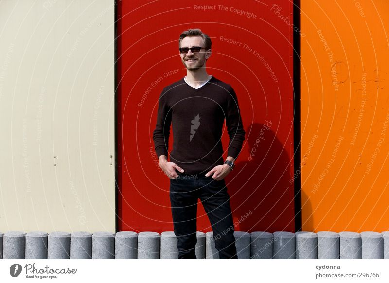 right in the middle Lifestyle Elegant Style Well-being Human being Young man Youth (Young adults) 18 - 30 years Adults Wall (barrier) Wall (building) Sweater
