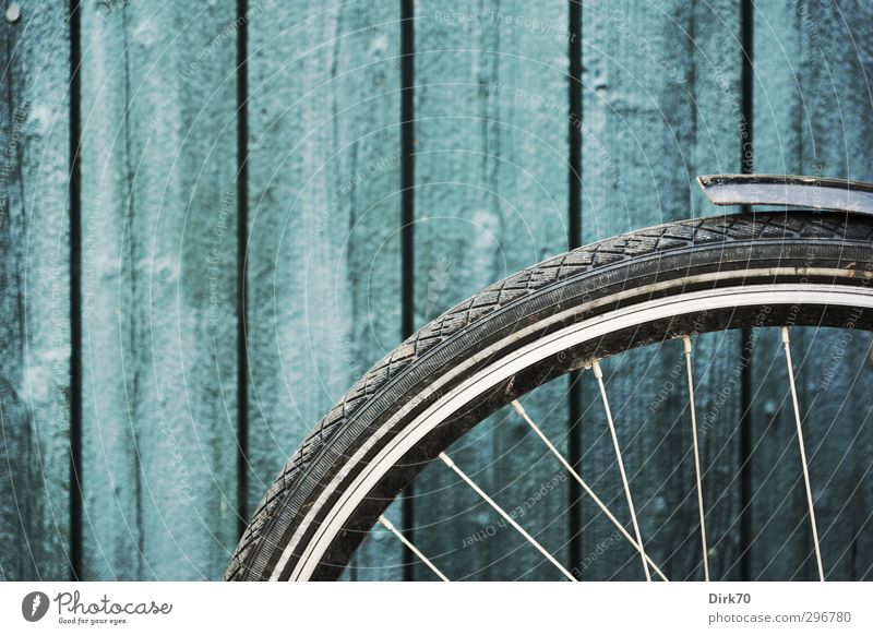 Bicycle front wheel in front of board wall Cycling Hut Wall (barrier) Wall (building) Door Storage shed Gate Wheel Wheel rim Spokes Guard Wooden board Steel