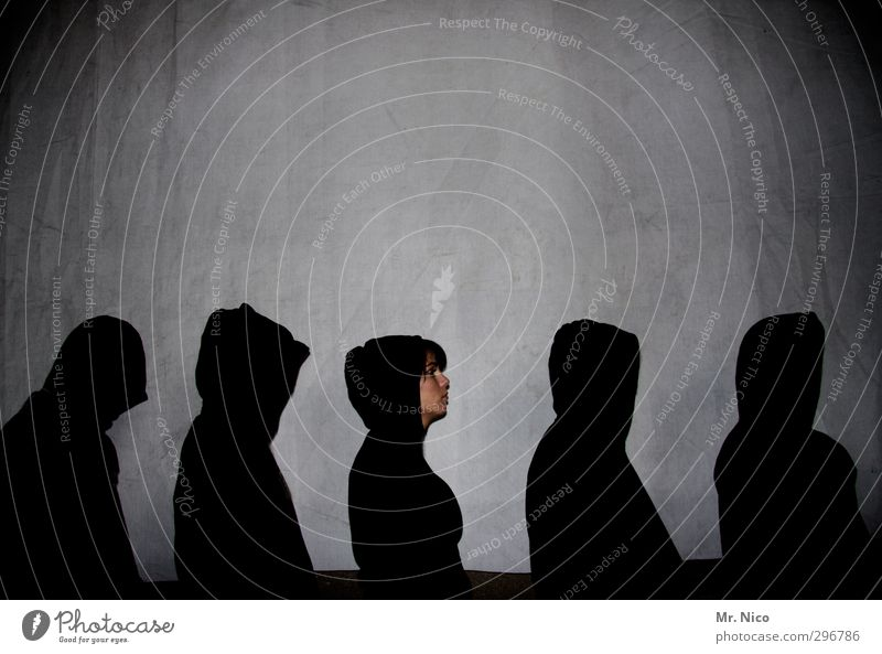 top heavy | design Masculine Feminine Face 5 Human being Group Cap Cool (slang) Black Hooded jacket Shadow Contrast Silhouette Row Gangsta rap Trashy