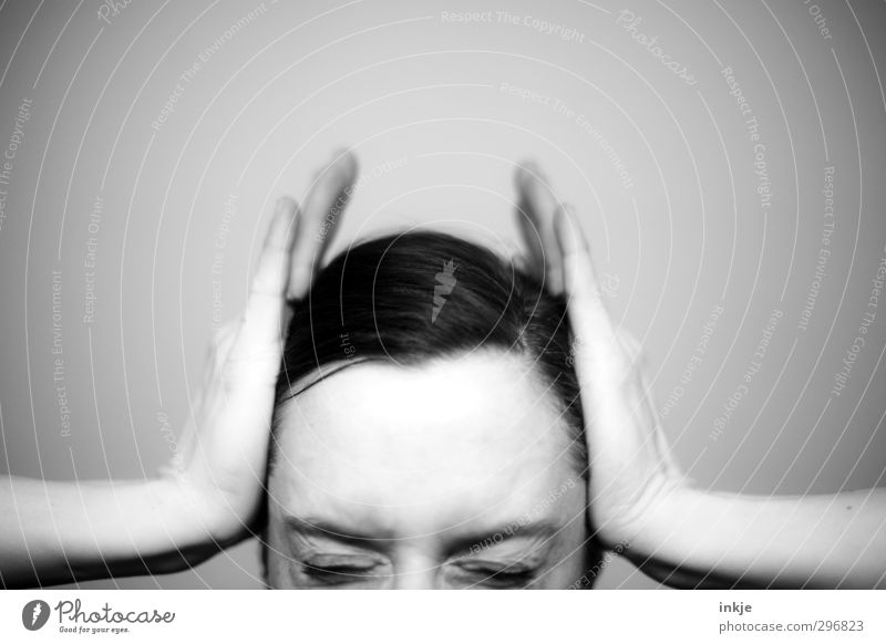 Top-heavy migraine. Woman Adults Life Head Face Eyes Hand 1 Human being 30 - 45 years To hold on Emotions Health care Pain Headache Pressure Furrowed brow