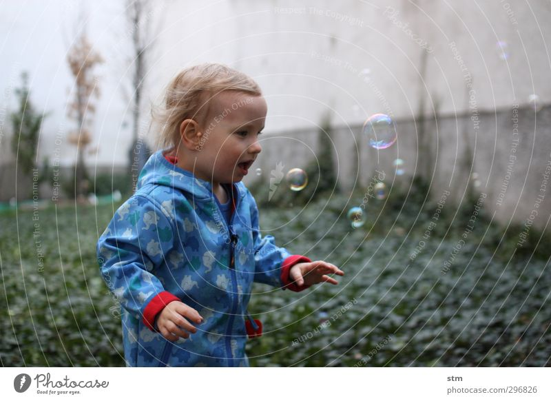 Human being Joy Emotions Playing Boy (child) Happy Garden Wait Growth Happiness Observe Curiosity Toddler Discover Soap bubble Tension