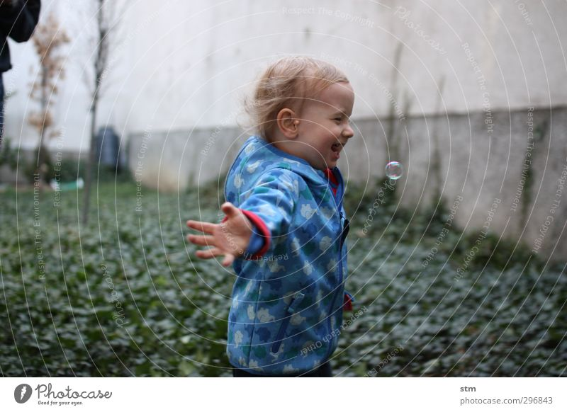 Human being Child Blue Joy Life Emotions Playing Boy (child) Happy Garden Infancy Masculine Walking Living or residing Happiness Study