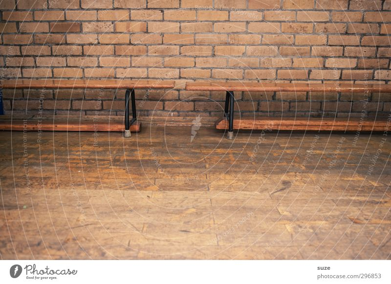 Old Wall (building) Sports Brown Places Simple Retro Bench Seating Wooden floor Parquet floor Gymnasium Brick wall Track and Field Sporting Complex