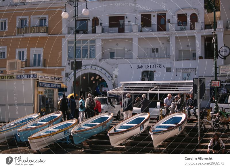 Isola di Capri Vacation & Travel Trip City trip Summer Island Water Spring Beautiful weather Boating trip Fishing boat Rowboat Harbour Tourism Colour photo